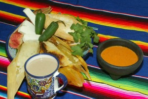 Fresh made tamales with atole